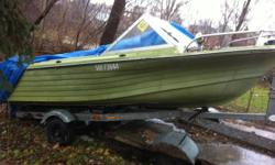 i have a 14-16' boat and trailer and 60 mariner motor for sale or trade trailer and motor in good condition boat needs some interior work it comes with two interiors and it has power trim and tilt call 519 774 5052