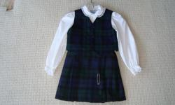 Size 6 Includes skirt, vest, blouse & kilt pin. Made in Canada. Like new.