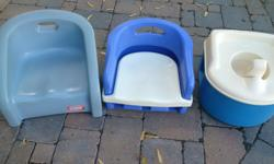 $7 lightweight booster seat. Kept at Grandma's for the odd visit. Open to offers on the Vintage Little Tikes Booster. $7 for potty. Removable splash guard. Clean. Was kept as an emergency potty at Grandma's. $10 Bike Helmet (3-5 yrs). Minor crack on