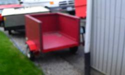 """Box trailer 4' long x 3' wide with removeable tailgate, 8"""" tires no spare, good lights, in good condition"""