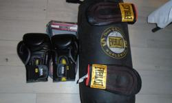 EVERLAST, 12 OUNCES FOR TRAINING,,with punching bag,,MINT CONDITION,IF U CAN SEE THIS AD, yes ,ITS AVAILABLE, CLICk ON (VIEW SELLERS LIST) TO SEE MORE QUALITY STUFF