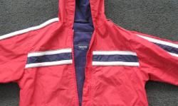 Light weight Windbreaker Red with navy blue lining Glow in the dark stripes pockets Clean and from smoke free home. Please see 'Sellers List' for more boy's items
