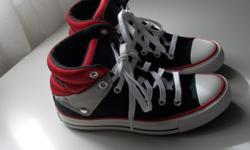 IN MINT CONDITION,WORN A FEW TIME ONLY, TOO SMALL BOY CONVERSE SIZE 6 BLACK/RED/GREY GREAT FOR FIRST DAY OF SCHOOL! ASKING $20.00 or best offer!