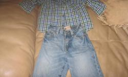 Boys BRAND NEW outfit Size 6/9 months Bought for a gift but didnt end of giving Brand - Childrens Place Blue jeans / plaid shirt $15 for the outfit can meet in west end of ottawa (kanata) or pickup in Constance Bay