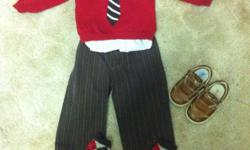 Sweater with faux tie from Crazy 8 (Gymboree USA sister company) 12-18 m Brown pin striped dress pants from Crazy 8 with matching socks 12-18 m All from last years holiday line. I have included a kennith cole dress short with red pinstripe that matches
