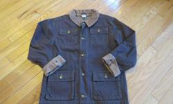 Brown canvas jacket. Fleece lined. Ideal for Fall and Spring. Like new. LARGE - SIZE 10.