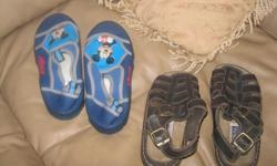 Boys Nevada Brown Sandals Size 13 $10 AND / OR Mickey Mouse Water Shoes Size 1 / 2 $5 AND / OR Blue/yellow/grey/black Water Shoes Size 1 $5 ************* sold ******************* AND / OR Timberland brown Sandals Size 2 $10 Can meet in west end of ottawa