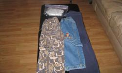 Boys size 3 1 pair of blue jeans 1 pair of camo pants 1 pair of blue pants and 2 pairs of BRAND NEW underwear (never worn) Get ALL 5 items for ONLY $10 (works out to be $2 per item) EXCELLENT DEAL!!! can meet in west end of ottawa (kanata) or pickup in