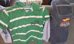 7 size 5/6 button shirts, green fooler shirt and hotwheels jeans. All in really good shape, no stains or tears.