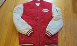 Boys Gymboree sports jacket. Size 10-12 (Large). Red and off-white. Baseball theme. New - never used.