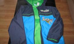 Boys DISNEYS Toy Story - BUZZLIGHT YEAR spring/fall jacket with hood Size 5 100% Polyester Primary Color - Blue $10 **** Throwing in a small Woody Figure from Toy story and Buzzlight Year Toy figure for FREE **** Can meet in west end of Ottawa (Kanata) or
