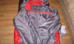 Boys Spring/ Fall jacket with hood Brand - SPORTEK Size 14/16 Color - Grey/Red 100% Polyester GREAT condition Can meet in west end of Ottawa (Kanata) or pickup in Constance Bay