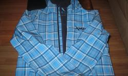 Boys Spring/Fall jacket with hood Brand - XMTN Size 14/16 Color - blue/white/black plaid 100% Polyester GREAT condition Can meet in west end of Ottawa (Kanata) or pickup in Constanc Bay