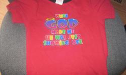 "Boys t-shirt Size: 4 Saying on shirt - ""When God made me he was just showing off"" Really cute!! ONLY $5 Can meet in west end of ottawa (kanata) or pickup in Constance Bay"