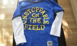 """Boys OSH KOSH long-sleeve top Size 8 Bought for son but to small!!! Says """" Unstoppable on the Field"""" Color - Blue / White / Yellow / Black AND Boys Northern Getaway long-sleeve top Size medium (7/8) Color - Primary color grey Says""""I spent most of my day"""