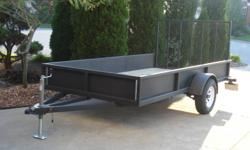 Brand New 6 x 12 utility trailer up for sale. Built about four months ago, and used only once. It has a 3500 lbs axle, and electric brakes. It also has a pressure treated wood floor, golvanized sides, jack stand, and a durable 4 ft gate. Very strong and
