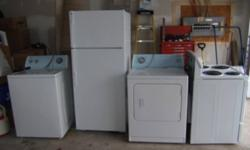 We have 4 brand new, white appliances - washer, dryer, fridge, stove - never used, came with new house, we brought our own appliances.  Cost for all brand new appliances - $2,000. We will sell all four appliances for only $1,200 OBO. You will need to pick
