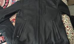 This jacket was a gift from a few years back thats just been sitting in my closet.. I would absolutely love to wear it but its too big for me now and doesn't fit me nicely anymore. Its a size large but fits pretty big. Its real Canadian leather bought