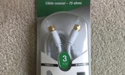 Brand New - ELECTROHOME Coaxial Cable EWLS3C 75 ohms 3 ft Satellite Receiver l VCR l Television