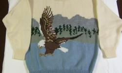 Beautiful brand new hand knit sweaters being sold below cost by original knitter due to retail outlet closing. Machine wash and dry. Moth proof, Colourfast, Non-Allergenic. Adult small: Loon with babies, Adult Medium: Single Loon; Adult Large: Beaver and