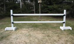 Brand new horse jumps for sale from plain to multicolored as you would like. All standards are 5ft. high. All round poles, gates and planks are all 10ft. wide. I also build and sell round poles stands and step up benches of different size. All jumps can