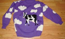I have a Brand New Knitted Cow Sweater Youth Size L for sale! This is in excellent condition and would look great in your home or to give as a gift. Comes from a non-smoking household. Do not miss out on this excellent opportunity to get this for a