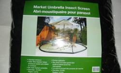 """BRAND NEW, ALL IN ORIGINAL PLASTIC. MARKET """"INSECT SCREEN ENCLOSURE"""" FITS, OVER  ALMOST ANY ROUND PATIO/YARD/TABLE UMBERELLA. FULL LENGHT ZIPPERED ENTRANCE. WATER FILLED BLADDER KEEPS ENCLOSURE SEALED & STABLE IN A BREEZE. WATER EXTRA? REPAIR KIT"""