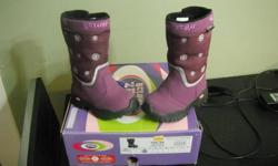 I purchased a pair of girls size 8 boots last spring from Marks Work Wear World. They are water proof, rated to -25, stylish and have never been worn. I bought them on clearance last spring $60 marked down to $20. Sadly she out grew the boots before
