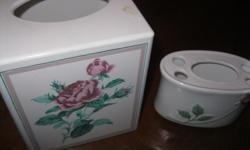 BRAND NEW tissue holder with a matching Toothbrush Set CLASSIC ROSE set Never been used The tissue holder alone retails for $15.99 + Letting go for ONLY $10 Can meet in west end of ottawa (kanata) or pickup in Constance Bay