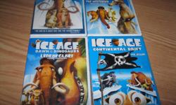 BRAND NEW AND UNOPENED - set of the 4 ICE AGE series DVDS which include: ICE AGE ICE AGE (THE MELTDOWN) ICE AGE (Dawn of the Dinosaurs) ICE AGE (Continental Drift) Son received as gifts but already has the dvds $10 each ($40) OR get ALL 4 for ONLY $30