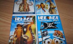 BRAND NEW AND UNOPENED - set of the 4 ICE AGE series DVDS which include: ICE AGE ICE AGE (THE MELTDOWN) ICE AGE (Dawn of the Dinosaurs) ICE AGE (Continental Drift) Son received as gifts but already has the dvds Get ALL 4 for ONLY $15!!! EXCELLENT PRICE
