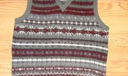 I have a Brand New Vest Knitted Grey Burgandy Youth Size S-M for sale! This is in excellent condition and would look great in your home or to give as a gift. Comes from a non-smoking household. Do not miss out on this excellent opportunity to get this for