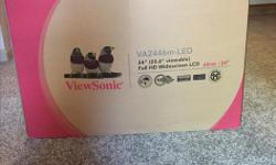 "New ViewSonic VA2446m-LED 24"" Monitor Still in the box 16:9 Aspect ratio, Full 1080 HD Widescreen Includes VGA and an additional brand new DVI to HDMI cable (retail $40) High quality integrated Speakers Pick Up only"