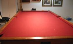 5' X 10' Brunswick Pool Table Slate Top Brand New Felt Top 12 - Pool Cues Scoreboard Pool Table to be removed from owners basement by buyer. No Emails Please Please Call 306-221-0008