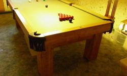 8 by 4 with solid oak wood frame; 1 inch slate bottom; new cloth surface; Includes complete set of Boston and snooker balls; Rake; Scoreboard; Four cues; Cue Rack; Ball Rack; Call Ron 226 931-2409 local Norfolk call