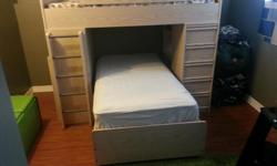 ?Bunk Bedroom set for sale includes front drawers on right hand side, built in desk on the left, ladder with safe support for top bunk. Set also comes with separate drawer & vanity shelf. Mattresses have been cleaned recently sheeting also available. The