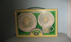 This child's set was made in England by Royal Worcester in 1984. Mint in box. NO CHIPS. Set contains, plate, bowl and cup. I also have another set in mint condition, but no box. I'm asking $60.00 for the one without the box. Both sets are exactly the