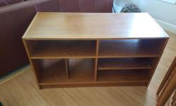 Teak cabinet excellent shape, slide shelf for easy access. Well taken care of. Approximately 4ft by 2 ft by 3 ft high 6 shelves.