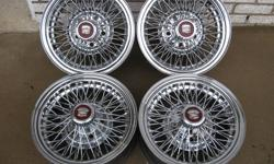 I have 4 BEAUTIFUL  15  inch  5 bolt  Cadillac REAL WIRE WHEELS 3 are EXCELLENT   and ONLY 1 has a little surface rust on the outer lip edge  as seen in the last photo The 3 GOOD  rims are all in  the same condition as the single photo of  the one rim