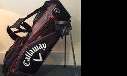 """Brand New Callaway GS Golf bag 4.8 LB Stand Bag. Blach/Orange/Charcoal Gray Features and Benefits 1) 10"""" 6-way Top 2) Lightweight High-mount Automatic Stand System for Added Stability 3) IZZO Dual Strap for Maximum Balance and Comfort 4) 5 Strategically"""
