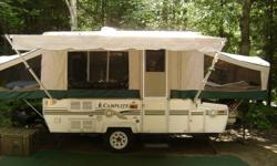 Camplite 10ft  tent trailer Model 1916  complete with slide out and front storage compartment manufactured by Damon.  This beautiful tent trailer has been well maintained, for example all new marine grade zippers installed 2009, new brakes 2010, new
