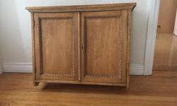 """Lovely antique piece from Ontario, butternut wood (looks a bit like pine), white painted inside. Beautiful """"braid"""" detail on doors. Excellent condition. Picture shows sitting on floor but meant to be mounted on wall. 21"""" high and 27"""" across, 7 1/2"""" deep."""