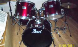 I'm selling my pearl drums wife says they need to go. Always kept inside great price great for a beginner or pro alike.   Feel free to ask me any questions by e mail or text   Joel