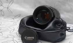 Nice Canon tele lens for suitable for full frame cameras like the 5D series or 6D as well as APS-C bodies like the Rebels or 7D. This is the black version that predates the newer 70-300 f/4L IS, great image quality but a bit lighter and more affordable