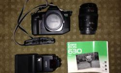 This is a great film setup for someone looking to get into photography or just looking to get more into film. The kit includes an EOS630 body in excellent shape, a 430EZ Speedlight, an EF35-105 f3.5-4.5 lense and carry bag with owners manuals included. If