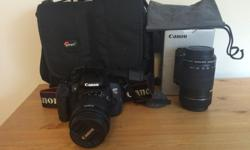 Hardly been used (like literally, almost never) Canon rebel and lenses for sale. Included in sale * The camera itself * 18-55 mm image stabilizing lense * 55-250 mm image stabilizing lense * lens caps * a lens bag * battery charger * cord to plug camera