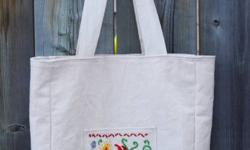New canvas bag with colourful Hungarian hand embroidery, natural, washable. Double layer. Bag size: 28x28 cm/ 11x11 inch, pocket size: 13x13 cm/ 5x5 inch. Different patterns available.