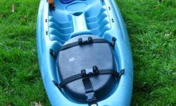 This kayak was used for 6 seasons and is in great shape. It is 11 feet long and can carry a large cargo, if you like to fish or camp. The hull underneath can store fishing rods, extra paddles and your food cooler. It comes with a sail and custom made