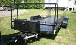 Large, car hauler trailer.  Please email your questions or to arrange an appointment for viewing. Thank you. Trailer can be viewed at 16246 Hwy 2 between Trenton and Brighton Ontario. Home made trailer 2 - 3500 lbs axles 1 year ago   deck 77 inches x 19