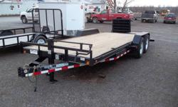 """For Sale: New 83``x20` Load Trail Car Hauler, 2x 7000lb axles w/ electric brakes, radial tires, LED lights, rub rail, diamond plate fenders, 16"""" cross members, black and new style dove tail ramp system. Well built heavy duty trailer. New style ramp gives"""